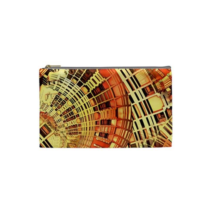 Semi Circles Abstract Geometric Modern Art orange Cosmetic Bag (Small)
