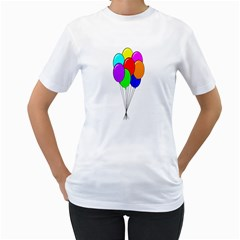 Colorful Balloons Women s T Shirt (white) (two Sided)