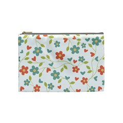 Abstract Vintage Flower Floral Pattern Cosmetic Bag (medium)