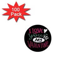 I Love You My Valentine / Our Two Hearts Pattern (black) 1  Mini Buttons (100 Pack)