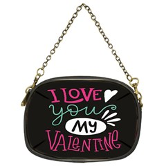 I Love You My Valentine / Our Two Hearts Pattern (black) Chain Purses (one Side)