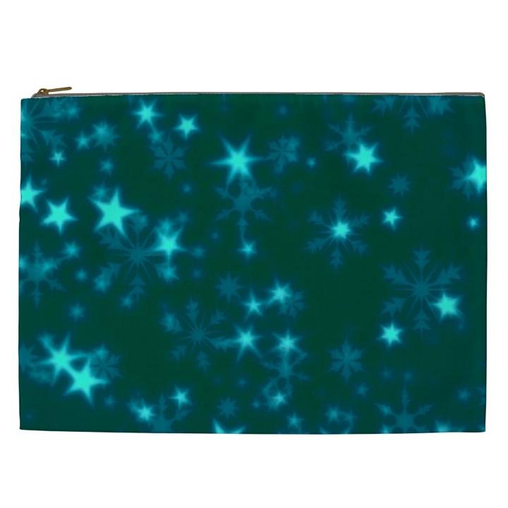 Blurry Stars Teal Cosmetic Bag (XXL)