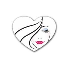 Makeup Face Girl Sweet Rubber Coaster (heart)