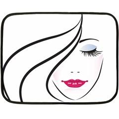 Makeup Face Girl Sweet Fleece Blanket (mini)