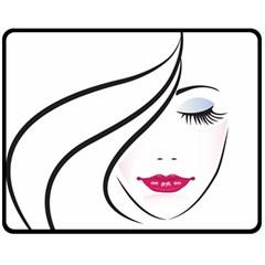 Makeup Face Girl Sweet Double Sided Fleece Blanket (medium)