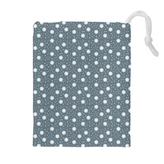 Floral Dots Blue Drawstring Pouches (extra Large)