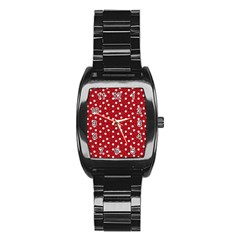 Floral Dots Red Stainless Steel Barrel Watch