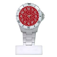 Floral Dots Red Plastic Nurses Watch